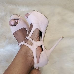 Strappy Light Pink Suede Heels